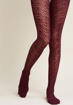 Statement Maven Tights in Plum - When it comes to pattern and texture, you're all over it with these sheer tights! Decorated with an angular pointelle pattern and donning a rich purple hue, this eye-catching pair marks you as the most moxie-filled fashionista on the scene.