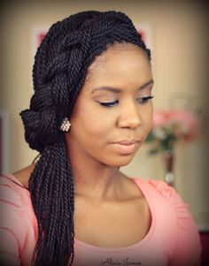 Big Braids Hairstyles: Cute Box Braids Twists Pony