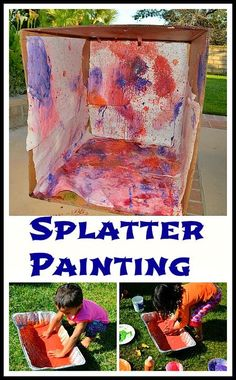 Active way to paint inside and all around a box. Great outdoor activity for the summer. Lots of laughter and happy squeals guaranteed. #artprojects #outdoorfun