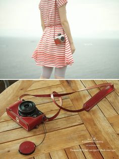 A red leather camera case?!  YOWZA ME WANTY!