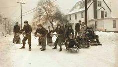 Thanksgiving Snowstorm Nov 25, 1950, children sledding on Brightway on Marland Heights, Weirton, WV--AppalachianHistory.net-(Brook/Hancock Co)