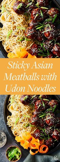 Sticky Asian Meatballs with Udon Noodles. Get the recipe here. #udonnoodles #asianrecipes #noodles #meatballs #easyrecipes