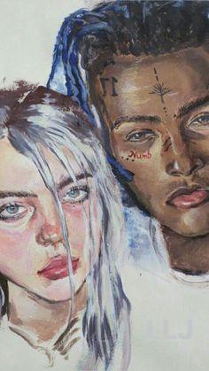 Resultado de imagem para billie eilish and xxxtentacion draw people Billie Eilish, Wallpaper Collage, Rap Wallpaper, Art Sketches, Art Drawings, Drawing Drawing, Arte Do Hip Hop, Videos Instagram, Rapper Art