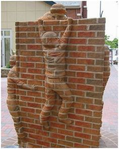 Boy Climbing- Brad Spencer Breathes Life into Brick Sculptures #brick #sculpture #art