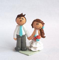 """Mini figurine de mariage """"Clementine""""  - DISPONIBLE / Prête à l'envoi  #weddingcaketopper #mint #coral #littlemandarine"""