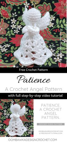 A New Crochet Angel Pattern from Oombawka Design. Watch the step-by-step video tutorial and make this pretty Angel with me! This free crochet angel pattern uses medium weight yarn. A quick and easy project! Crochet Christmas Decorations, Crochet Ornaments, Christmas Crochet Patterns, Crochet Snowflakes, Angel Ornaments, Ornaments Ideas, Crochet Angel Pattern, Crochet Angels, Crochet Gifts