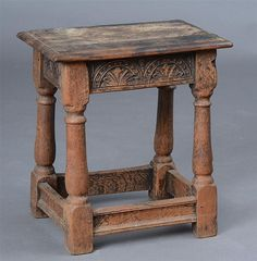 JACOBEAN STYLE CARVED OAK JOINT STOOL - by Stair Galleries