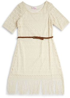 Bloome Girls 7-16 Crocheted Overlay Dress Was $52 Now $15.60 At Lord & Taylor Cute crocheted dress with a belted waist and fringed hem  https://api.shopstyle.com/action/apiVisitRetailer?id=533177720&pid=uid841-37799971-81