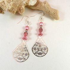 Boucles d'oreilles argent rose - boucles d'oreilles verre de bohème - bijoux fait main par breloques de sophie
