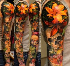 Pin de jessy sanchez em tattoos lily tattoo design, lillies tattoo e nature Lily Tattoo Design, Lotus Flower Tattoo Design, Tattoo Designs Men, Realistic Flower Tattoo, Realistic Tattoo Sleeve, Skull Tattoo Flowers, Flower Skull, Flower Tattoos, Lilly Flower Tattoo