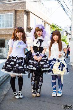 Lolita Trio in Angelic Pretty, Milk, Baby the Stars Shine Bright, Body Line, GVGV, RoseMarie Seoir, Swimmer and Vivienne Westwood