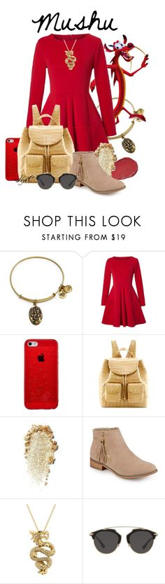 """""""Mushu - Disney's Mulan"""" by rubytyra ❤ liked on Polyvore featuring Alex and Ani, WithChic, Lumene, Nancy Gonzalez, Journee Collection, Effy Jewelry and Christian Dior"""