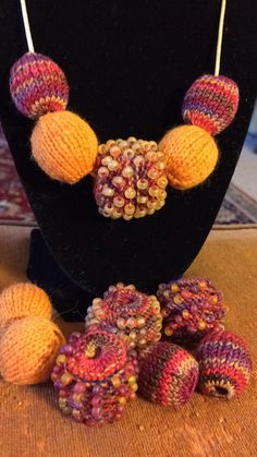 Beaded knitted beads