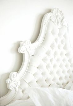 love this studded and vintage headboard #white #bed #headboard