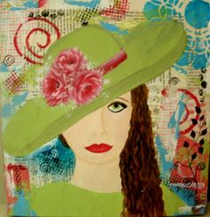 Lady in Green Mixed Media on Wood Ready to Hang