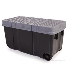Large 90lt Funky Tough Cart Plastic Storage Boxes with Two Wheels (Pack of 4)