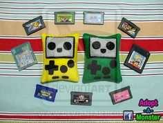 Baby Gameboy Plush by http://www.facebook.com/adoptamonster #Gameboy #Nintendo #Plush #Felt #Handmade #cute #crafts #kawaii