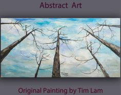 Original abstract painting Tree art Looking Up forest on gallery wrap canvas Ready to hang by tim Lam 48x24