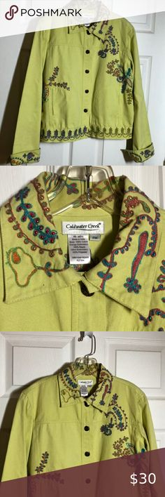 Cold-water Creek Embellished 100& Cotton Jacket So adorable. This jacket can be worn year round to spruce up an outfit. Like new Coldwater Creek Jackets & Coats Jean Jackets Light Jeans, Dark Jeans, Light Jean Jacket, Purple Jeans, Embroidered Denim Jacket, Online Thrift Store, Fringe Jacket, Floral Jacket, Coldwater Creek