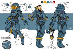 Character design / blue space suit on behance Character Design Sketches, Character Design Cartoon, Character Design References, Larp Armor, Sci Fi Armor, Character Concept, Character Art, Concept Art, Cyberpunk