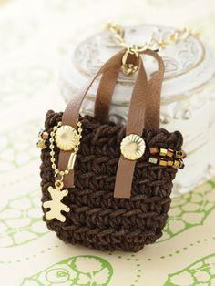 crochet purse motif necklace