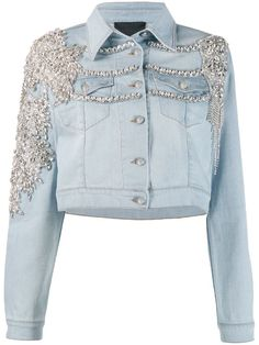 Blue cotton Crystal embellished denim jacket from Philipp Plein featuring a classic collar, a front button fastening, two chest patch pockets, a cropped length, faux button cuffs and stitching details. Kpop Fashion Outfits, Stage Outfits, Denim Fashion, Modest Fashion, Diy Jeans, Mode Unique, Kpop Mode, Philipp Plein, Painted Jeans