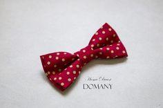 Веселый галстук-бабочка Красный в желтый горох