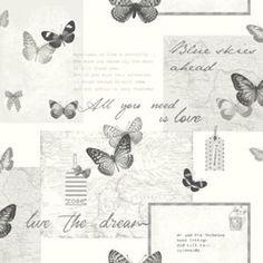 Retro Collage Wallpaper - Silver