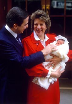 King Constantine and Queen Anne Marie with baby Prince Philippos at Saint Mary's Hospital in London.
