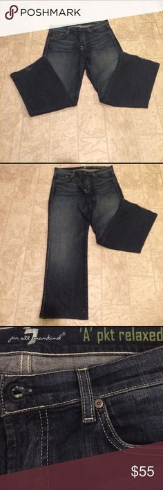 "Seven of all mankind Size 33 👖 This is a pair of 7 of all mankind jeans 👖 A Pkt relaxed fit jeans ,dimensions are waist 39"" hips 40, inseam 30,  length 39, 98% cotton 2% spandex. seven of all mankind Jeans Boot Cut"
