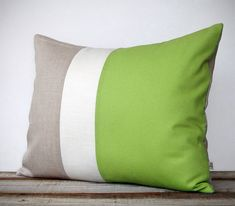 16x20 Color Block Pillow in Lime, Cream and Natural Linen by JillianReneDecor