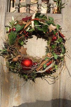 "Wreaths - wreath door wreath ""Christmas red"" - a designer piece by kleineGartenw . - Wreaths – wreath door wreath ""Christmas red"" – a unique product by kleineGartenwerkstatt on DaW - Country Christmas Decorations, Rustic Christmas, Xmas Decorations, Christmas Art, Simple Christmas, Winter Christmas, Christmas Wreaths, Holiday Decor, Advent Wreaths"