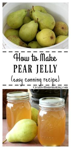 Easy recipe for canning pear jelly. One of my favorite fall canning recipes! Easy recipe for canning pear jelly. One of my favorite fall canning recipes! Canning Pears, Easy Canning, Canning Tips, Canning Labels, Canning Soup Recipes, Pressure Canning Recipes, Pressure Cooking, Homemade Jelly, Jam And Jelly