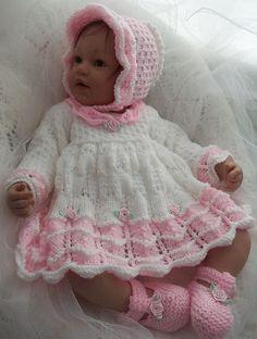 Ravelry: Pattern #45 Baby Girls Scalloped Dress, Bonnet & Shoes pattern by Jacqueline Harrison