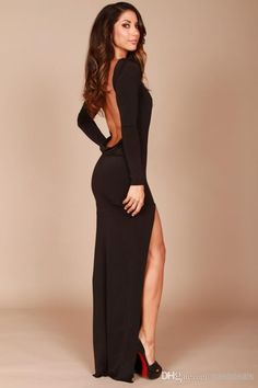 2014 Black Backless Evening Dresses High Neck Long Sleeves Side Split Mermaid Tight Prom Dresses Party Gowns Online with $77.88/Piece on Bestdeals's Store | DHgate.com