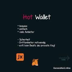 Du interessierst dich für Kryptos und fragst dich was die beste Aufbewahrungsmethode ist? Du willst den Unterschied zwischen einem sogenannten Hot Wallet und einem Cold Wallet Wissen? Dann jetzt den neusten Blogbeitrag lesen! --- #bitcoin #bitcoinnews #generationonline #hotwallet #metamask #ledger #coldwallet #hardwarewallet #ledgernanox #ledgernanos #krypto #kryptowährung #blockchain #technologienews #crypto #ethereum #btc #kryptosaufbewahren #kryptowallet #wallet Blockchain, Cold, Wallet, Movie Posters, Instagram, Not Interested, Knowledge, Film Poster, Purses