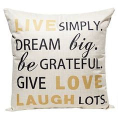 Happytimelol 18 x 18 Cotton Linen Throw Pillow Case Cover with Live Laugh Love Letters Quote Print * Find out more about the great product at the image link.
