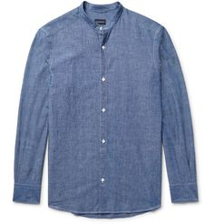 <a href='http://www.mrporter.com/mens/Designers/Ermenegildo_Zegna'>Ermenegildo Zegna</a>'s take on the casual chambray shirt is sleekly updated with a grandad collar and mother-of-pearl buttons. It's cut from crisp cotton for a slim, yet comfortable fit. Wear it neatly tucked-in on more reserved occasions.