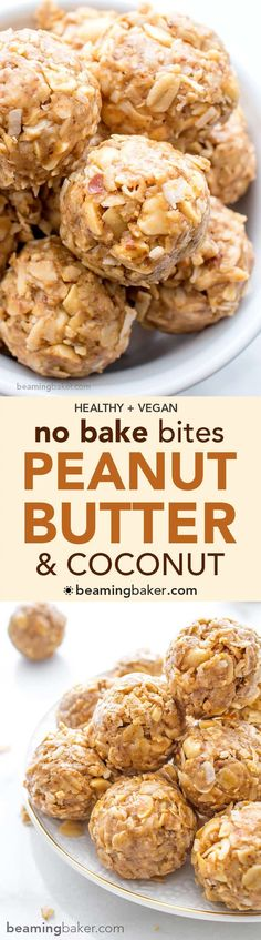 No Bake Peanut Butter Coconut Bites: delicious, easy to make, energy-boosting and super-filling. Made of just 6 simple ingredients, vegan, gluten free and healthy! BeamingBaker.com #Vegan #GlutenFree