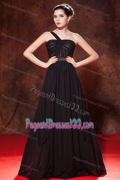 One Shoulder Ruched Miss Universe Pageant Dress Black