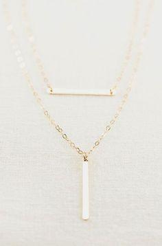 Aukanai'i necklace layered gold bar necklace