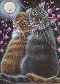 Orange & Gray Tabby Cats Valentine Painting