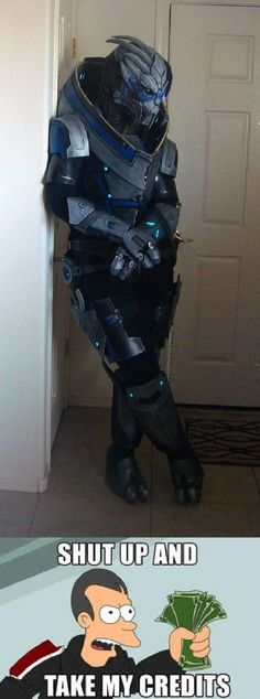 Some amazing person made a Garrus Vakarian cosplay costume. I wonder how opposed my husband would be to wearing this....