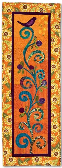 "FREE pattern: ""Bird on a Branch"" table runner. from Applique outside the Lines by Becky Goldsmith & Linda Jenkins. Table Runner And Placemats, Quilted Table Runners, Small Quilts, Mini Quilts, Quilting Projects, Quilting Designs, Quilting Tips, Sewing Projects, Skinny Quilts"