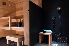 Black bathroom, concrete and wood in the sauna. Laundry Room Bathroom, Bathroom Toilets, Sauna House, Interior Design Photos, Interior Ideas, Spa Rooms, Home And Living, Home Remodeling, Tall Cabinet Storage