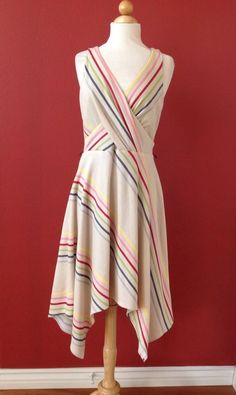 EVA FRANCO Rio Striped RENATO Dress Size 8 #EvaFranco #AsymmetricalHem #Cocktail