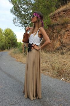 Love the boho maxi dress - could do w/o the scarf head thing