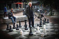 playing chess in the street near Holland Casino (MaxEuweplein)