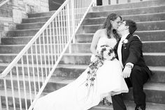 kissing on the church steps #wedding #photography #portraits #church www.pennyphotographics.com