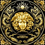 1 gold medusa versace inspired  baroque rococo black gold flowers floral filigree clouds dragons sun fire flames pearl asian japanese china chinese gorgons Greek Greece mythology far east meets west fusion oriental chinoiserie  by raveneve